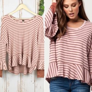 We the Free Rose Stripe Peplum Thermal Top EUC- M